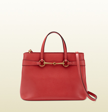 Gucci bright bit begonia pink leather top handle tote