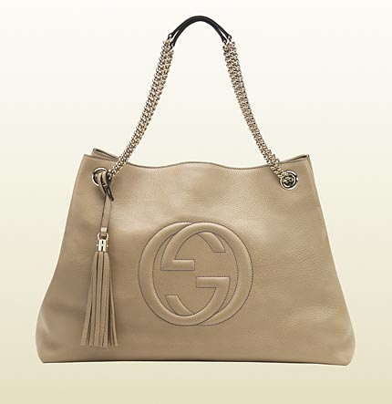 Gucci soho cream leather tote with double chain straps