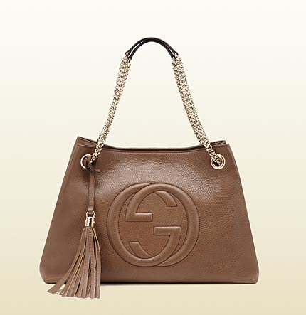 Gucci soho medium maple brown leather tote with chain straps