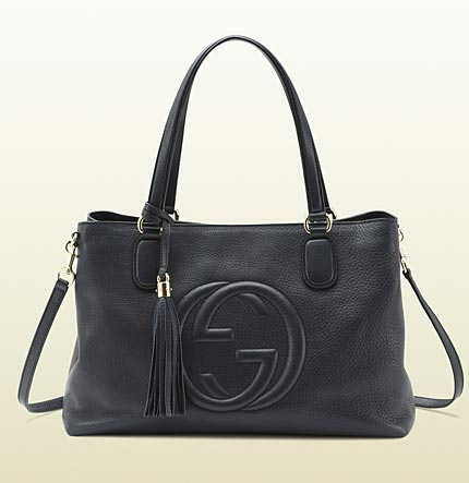 Gucci soho blue leather working tote