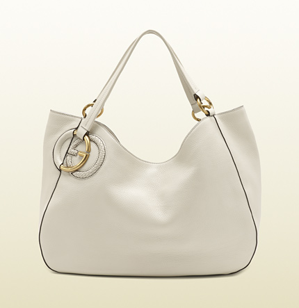 Gucci twill off-white leather shoulder bag