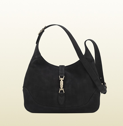 Gucci jackie black nubuck leather shoulder bag