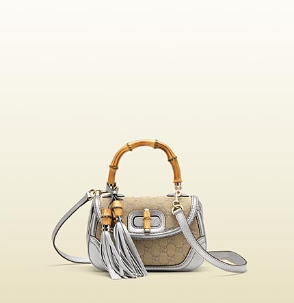 Gucci new bamboo original GG canvas top handle bag