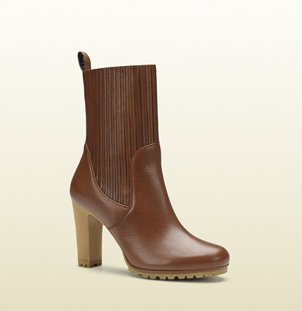 Gucci edith cuir leather mid-heel bootie