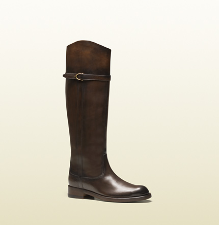 Gucci eleonora brown leather riding boot