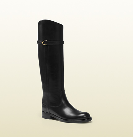 Gucci eleonora black leather riding boot