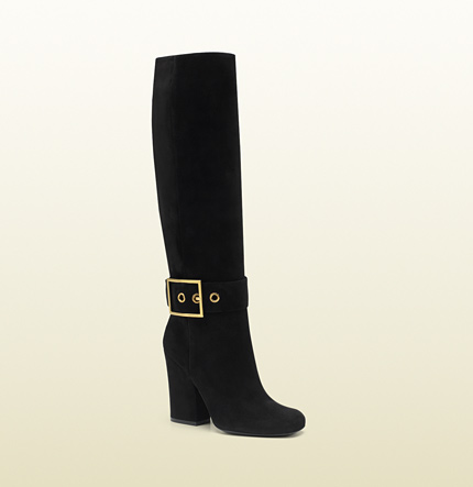 Gucci kesha black suede high heel boot