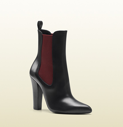 Gucci helene black leather elastic high heel bootie