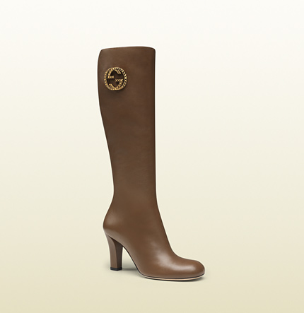 Gucci new interlocking maple brown leather mid-heel boot