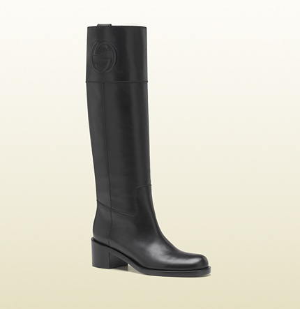 Gucci embossed interlocking G low heel tall boot