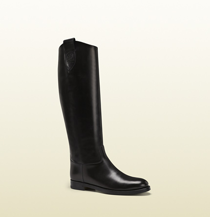 Gucci leather riding boot with gucci crest from equestrian collection