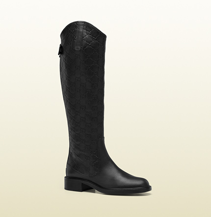 Gucci maud black leather tall flat boot
