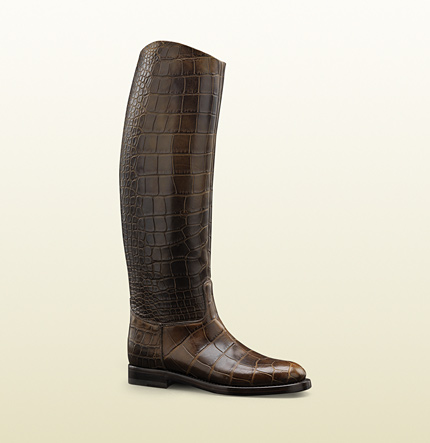 Gucci womens 1921 collection riding boot with gucci crest detail.