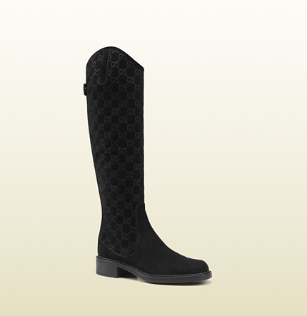 Gucci maud black suede tall flat boot