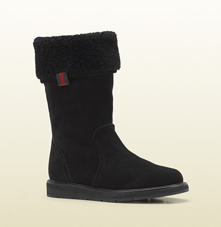 Gucci luberon shearling lined flat boot
