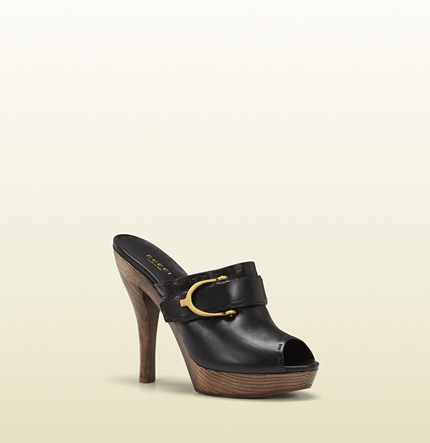 Gucci gucci stirrup black leather high-heel clog