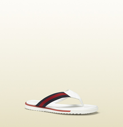Gucci sl73 beach white leather thong sandal