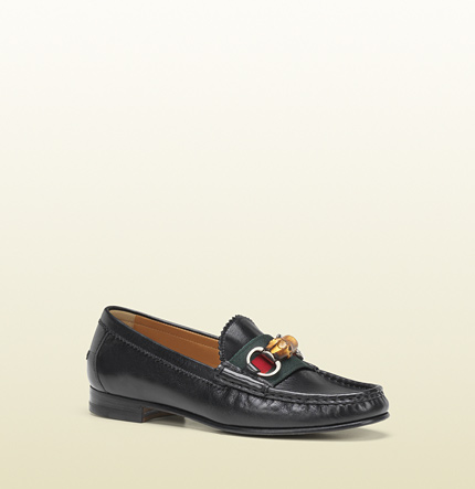 Gucci clyde horsebit, bamboo and web detail moccasin
