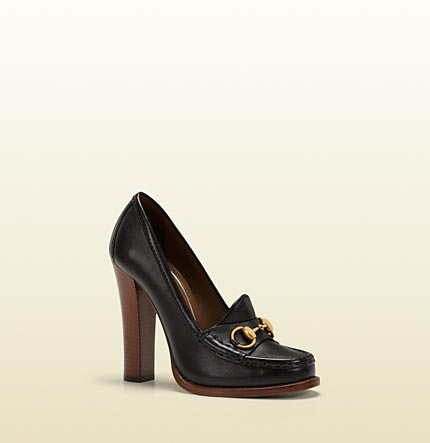 Gucci alyssa black leather high-heel loafer