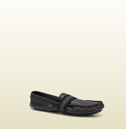 Gucci womens black leather moccasin from viaggio collection