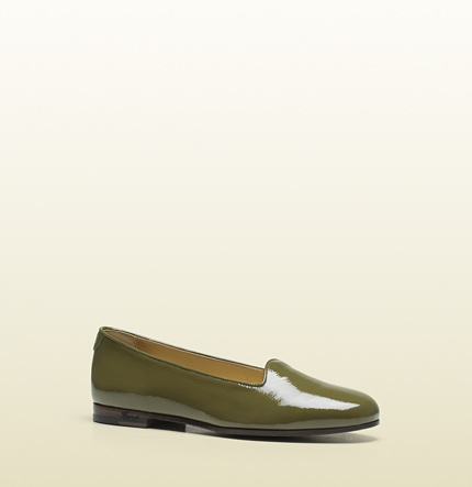 Gucci florence olive green patent leather loafer