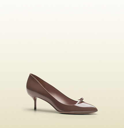 Gucci patent leather mid-heel pump