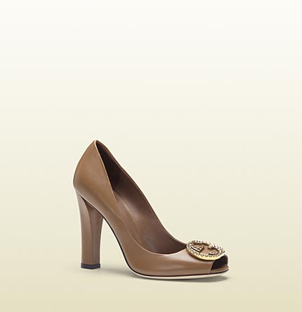 Gucci new interlocking maple brown leather open toe high-heel pump