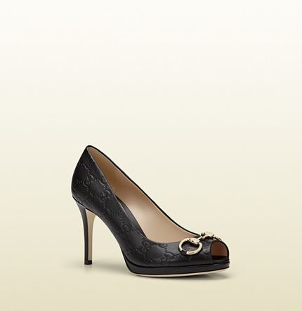 Gucci new hollywood black guccissima leather mid-heel platform pump