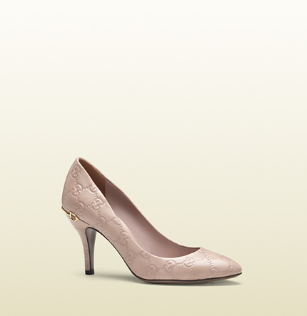 Gucci light pink guccissima leather mid-heel pump