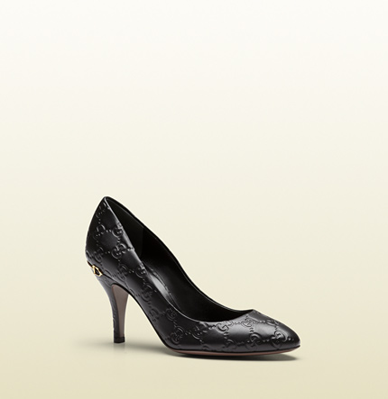 Gucci black guccissima leather mid-heel pump