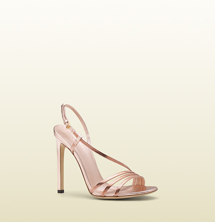 Gucci othilia pink gold chain high-heel sandal