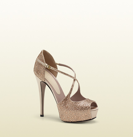 Gucci lili crystal and satin platform pump