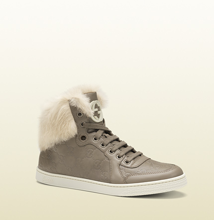 Gucci coda fur-trim guccissima high-top sneaker