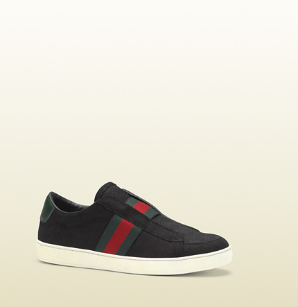 Gucci brooklyn black suede slip-on sneaker