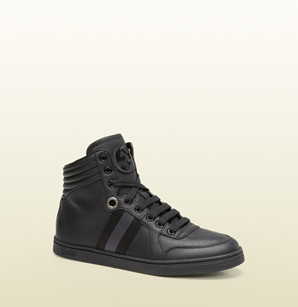 Gucci womens black leather high-top sneaker from viaggio collection