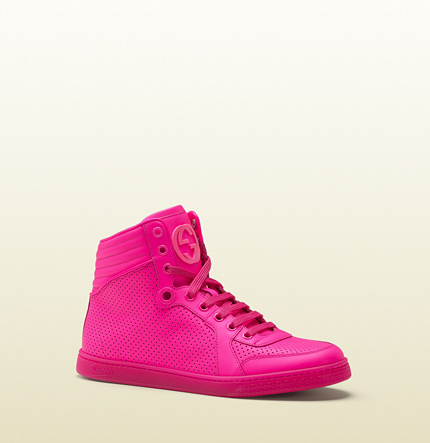 Gucci coda neon pink leather sneaker
