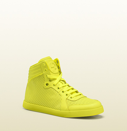 Gucci coda neon yellow leather sneaker