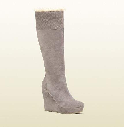 Gucci courteney shearling trim tall platform wedge boot