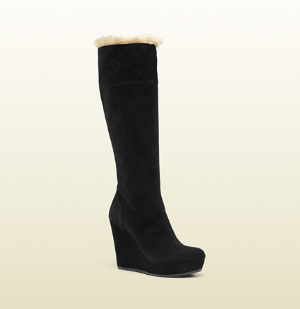 Gucci courteney suede wedge boot with shearling trim
