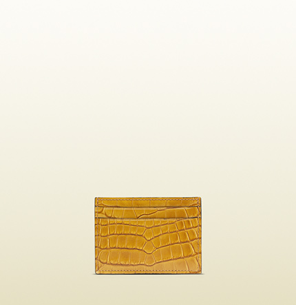 Gucci yellow crocodile card case