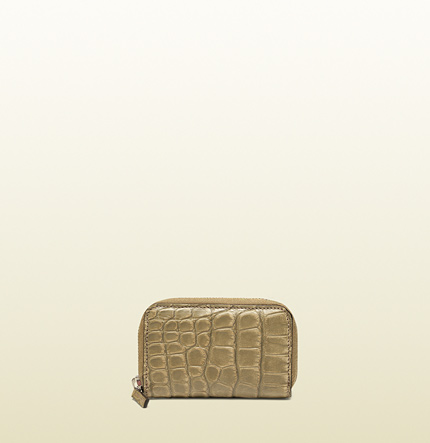 Gucci beige crocodile card case