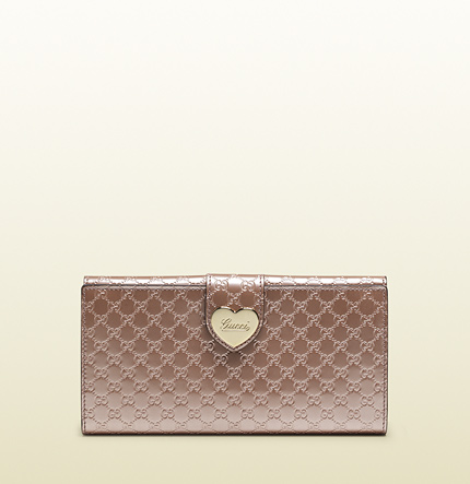 Gucci light pink shiny micro gg leather continental wallet