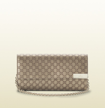 Gucci metallic microguccissima leather chain wallet
