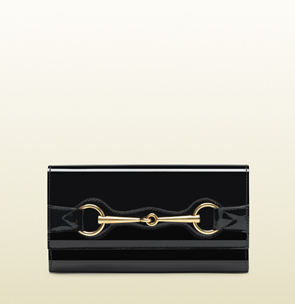 Gucci black patent leather continental wallet with horsebit detail