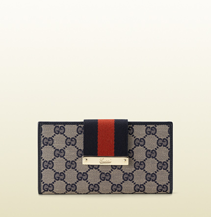 Gucci web metal bar continental wallet