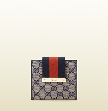 Gucci web metal bar wallet