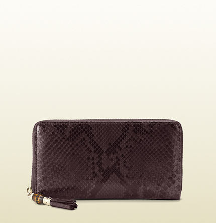 Gucci bamboo tassel zip around wallet