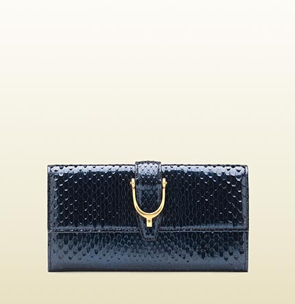 Gucci stirrup dark blue python continental wallet