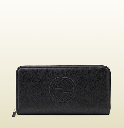 Gucci black leather zip-around wallet