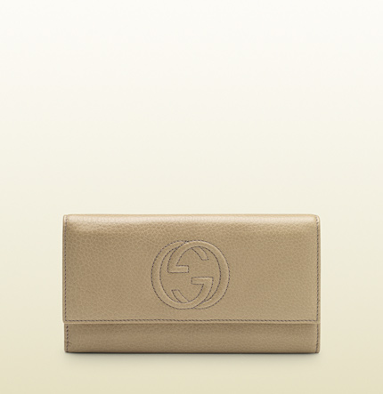 Gucci cream leather continental wallet
